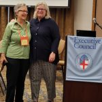 Mary Frances Schjonberg of Episcopal News Service with President Jennings